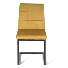 Cantilever Chair with Square Back Pattern - Mustard Velvet Fabric with Black Frame (Pair)