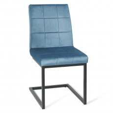 Cantilever Chair with Square Back Pattern - Petrol Blue Velvet Fabric with Black Frame (Pair)