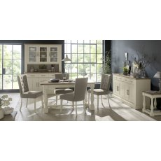 Chartreuse Aged Oak & Antique White Dining Set - 4-10 Table & 6 Titanium Chairs