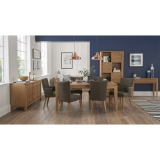 High Park Knotty Oak Dining Set - 6-8 Table, 2 Armchairs & 4 Upholstered Chairs