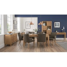 High Park Knotty Oak Dining Set - 6-8 Table & 6 Upholstered Armchairs