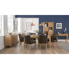 High Park Knotty Oak Dining Set - 6-8 Table & 6 Distressed Bonded Leather Armchairs