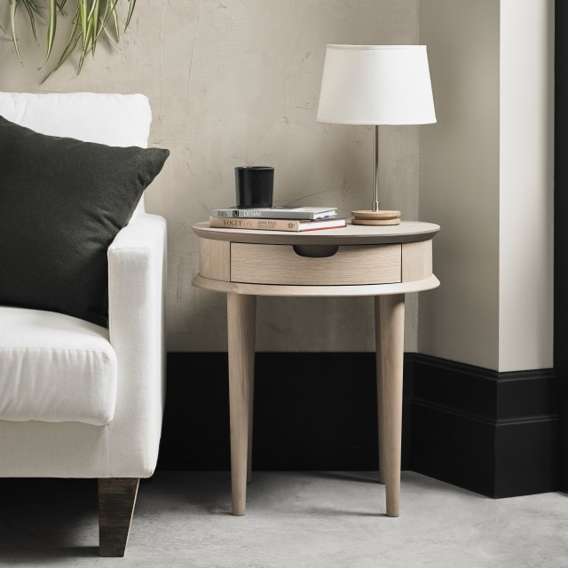 Gallery Collection Dansk Scandi Oak Lamp Table With Drawer
