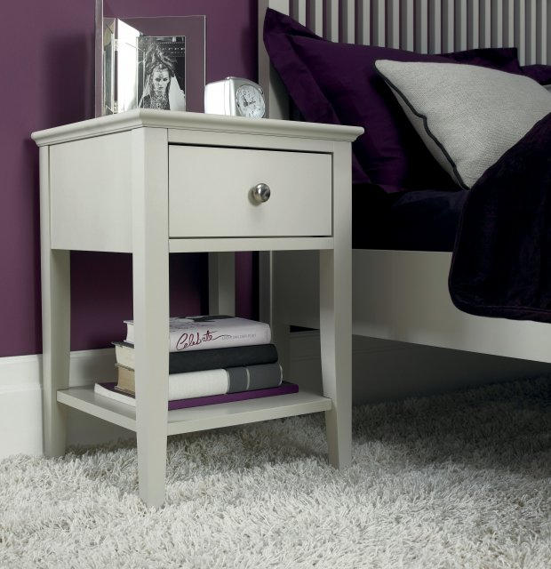 Premier Collection Ashby Soft Grey 1 Drawer Nightstand
