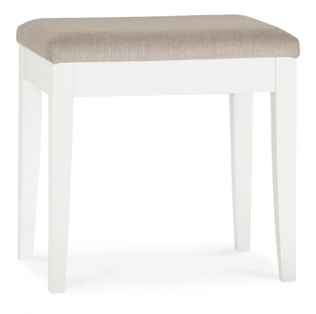 Premier Collection Ashby White Stool - Pebble Grey Fabric