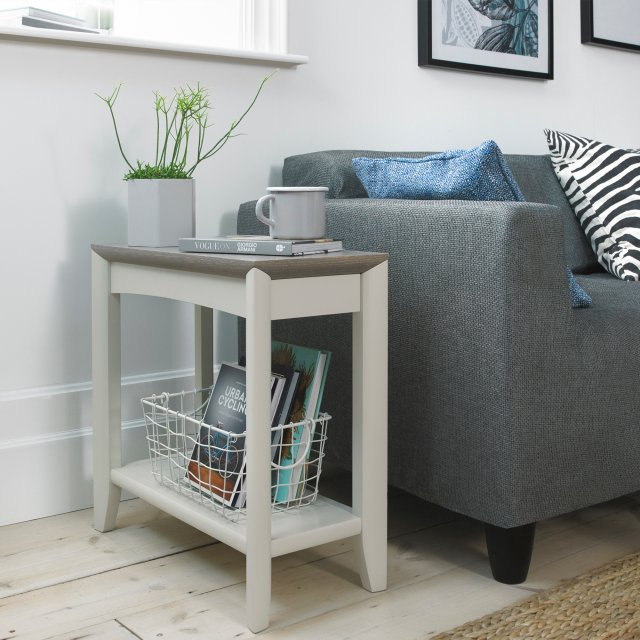 Premier Collection Bergen Grey Washed Oak & Soft Grey Side Table