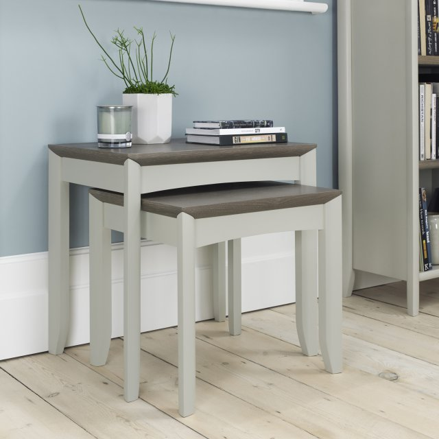 Premier Collection Bergen Grey Washed Oak & Soft Grey Nest Of Lamp Tables