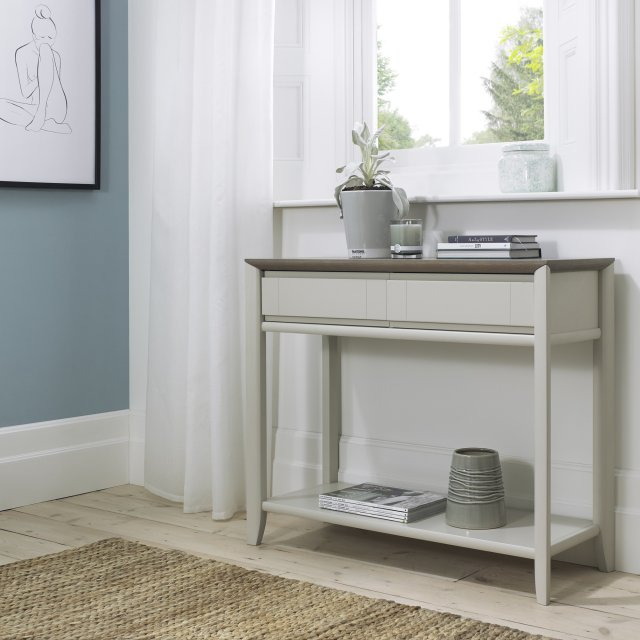 Premier Collection Bergen Grey Washed Oak & Soft Grey Console Table With Drawer
