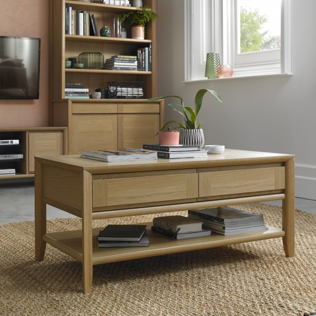 Premier Collection Bergen Oak Coffee Table With Drawer