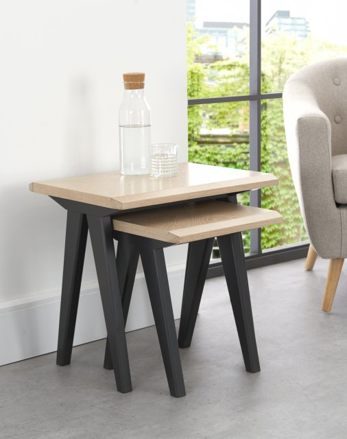 Premier Collection Brunel Chalk Oak & Gunmetal Nest Of Tables