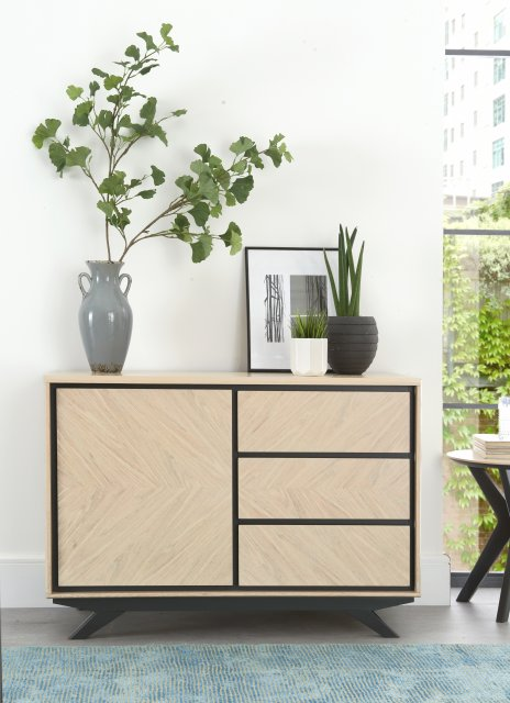 Premier Collection Brunel Chalk Oak & Gunmetal Narrow Sideboard