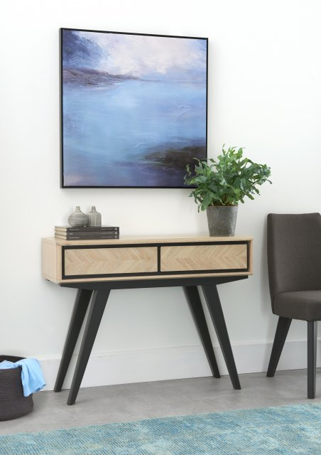 Premier Collection Brunel Chalk Oak & Gunmetal Console Table With Drawers