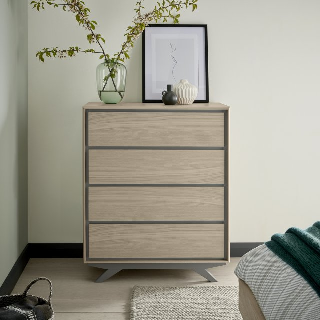 Premier Collection Brunel Scandi Oak & Dark Grey 4 Drawer Chest