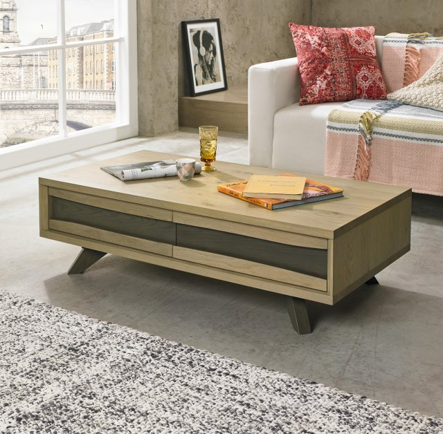 Premier Collection Cadell Aged Oak Coffee Table With Drawers