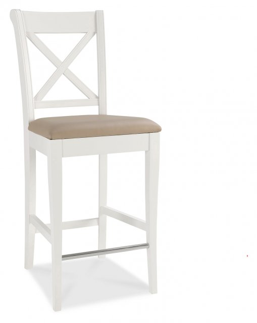 Premier Collection Hampstead Two Tone X Back Bar Stool - Ivory Bonded Leathr(Pair)