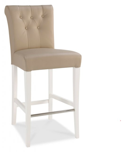 Premier Collection Hampstead Two Tone Upholstered Bar Stool - Ivory Bonded Lthr (Pair)