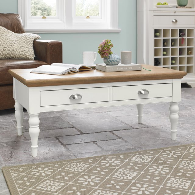 Premier Collection Hampstead Two Tone Coffee Table - Turned Leg