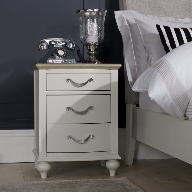 Premier Collection Montreux Grey Washed Oak & Soft Grey 3 Drawer Nightstand