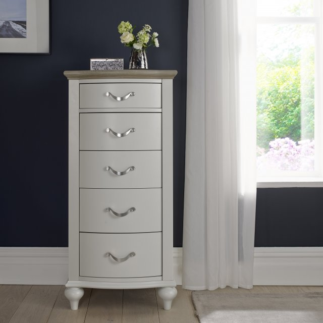 Premier Collection Montreux Grey Washed Oak & Soft Grey 5 Drawer Tall Chest