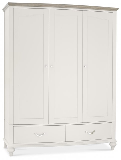 Premier Collection Montreux Grey Washed Oak & Soft Grey Triple Wardrobe