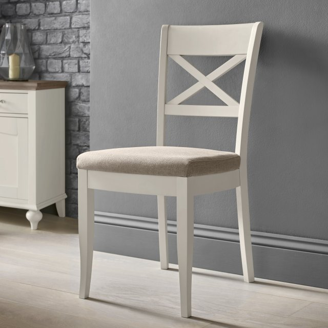 Premier Collection Montreux Soft Grey X Back Chair - Pebble Grey Fabric (Pair)
