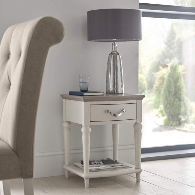 Premier Collection Montreux Grey Washed Oak & Soft Grey Lamp Table With Drawer