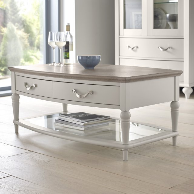 Premier Collection Montreux Grey Washed Oak & Soft Grey Coffee Table With Drawers