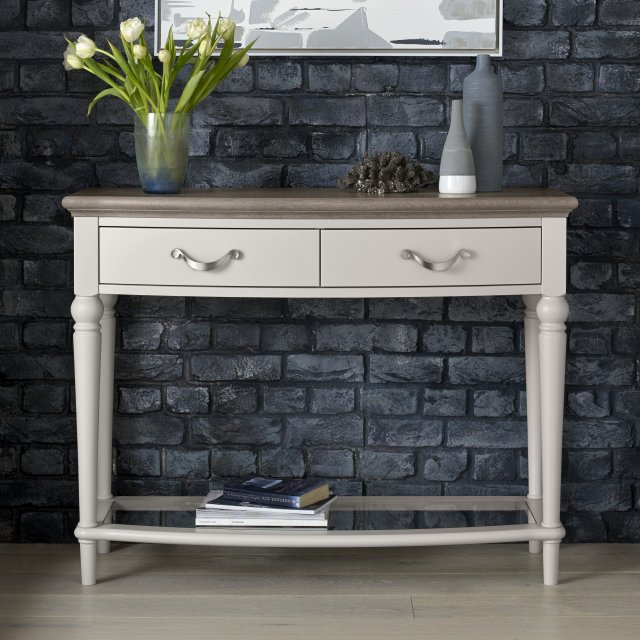 Premier Collection Montreux Grey Washed Oak & Soft Grey Console Table