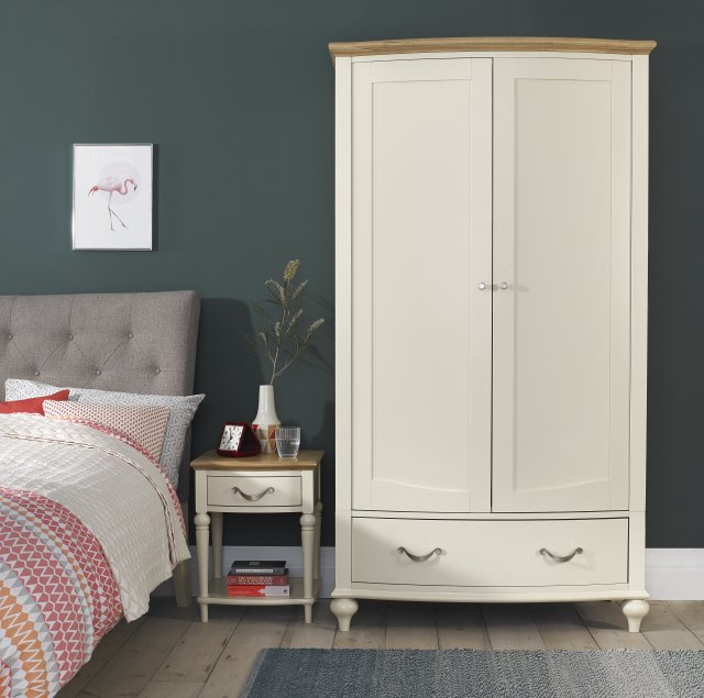 Premier Collection Montreux Pale Oak & Antique White Double Wardrobe
