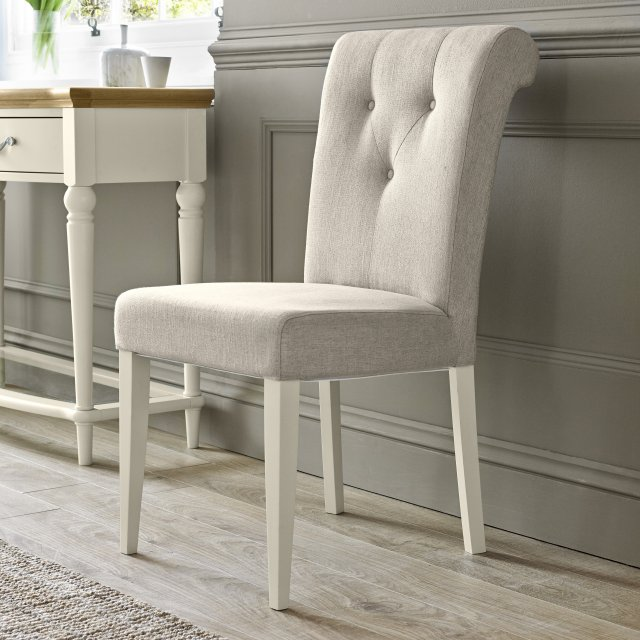 Premier Collection Montreux Antique White Uph Chair - Sand Fabric (Pair)