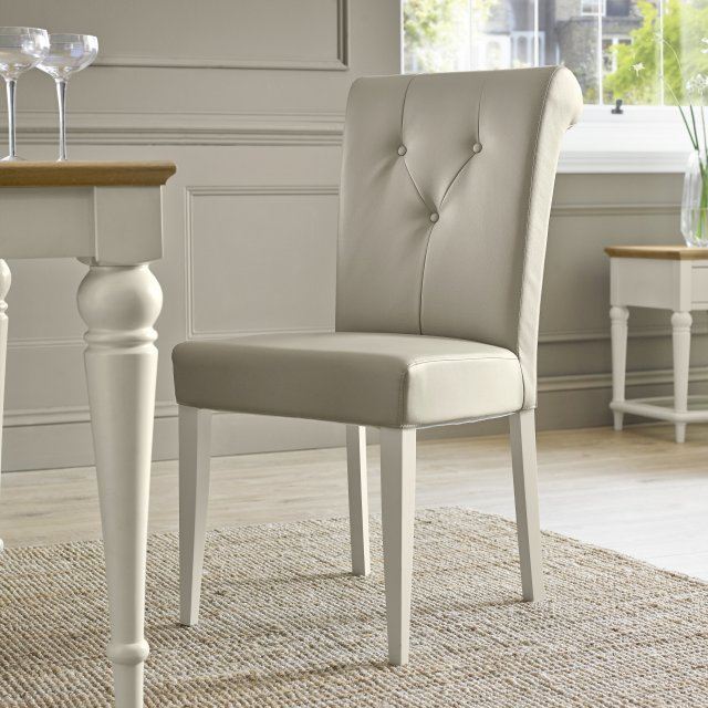 Premier Collection Montreux Antique White Uph Chair - Ivory Bonded Leather (Pair)