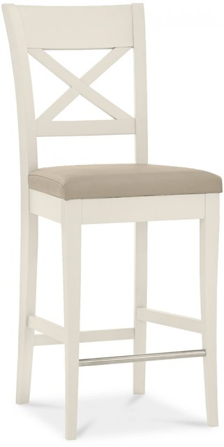 Premier Collection Montreux Antique White X Back Bar Stool - Ivory Bonded Leather (Pair)