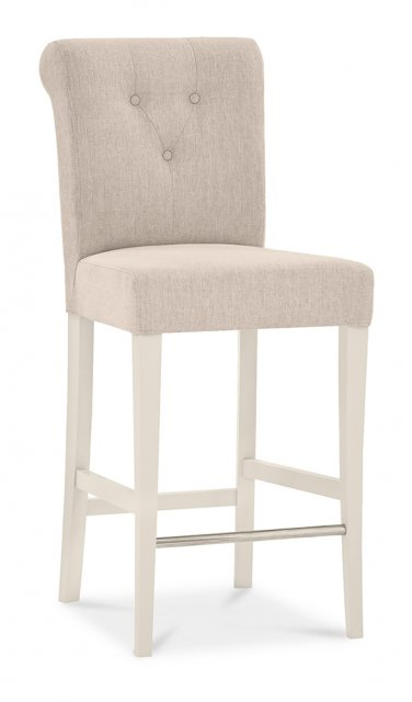 Premier Collection Montreux Antique White Uph Bar Stool - Sand Colour Fabric (Pair)
