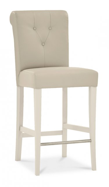 Premier Collection Montreux Antique White Uph Bar Stool - Ivor Bonded Leather (Pair)