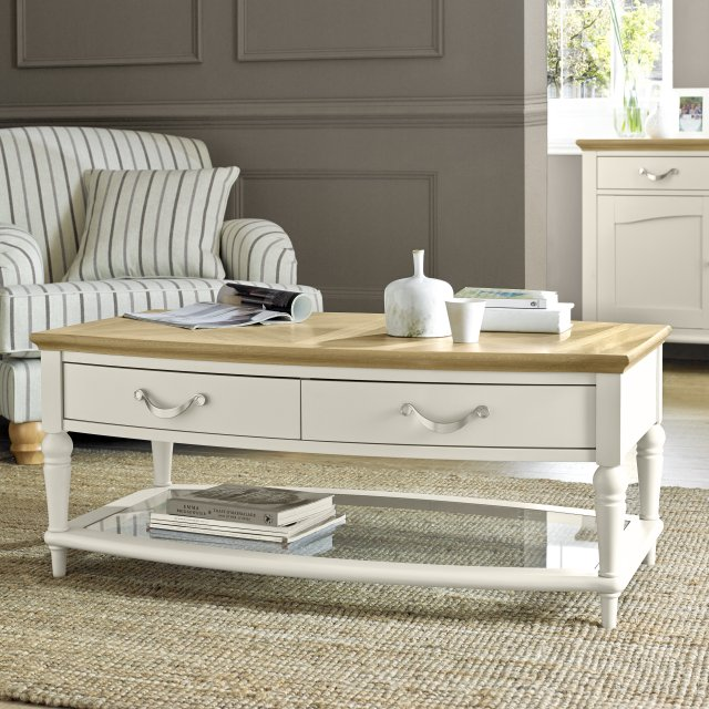 Premier Collection Montreux Pale Oak & Antique White Coffee Table With Drawers