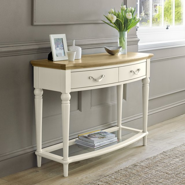 Premier Collection Montreux Pale Oak & Antique White Console Table With Drawers