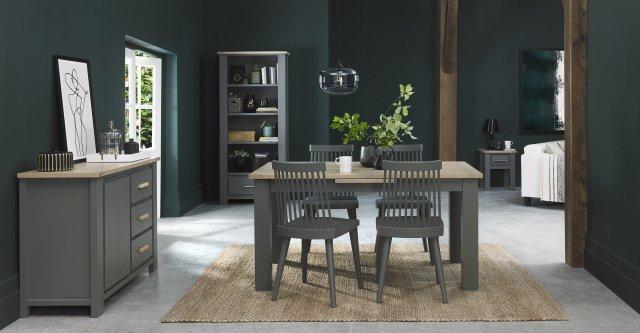Premier Collection Oakham Dark Grey Scandi Oak 4 6 Dining Table Dining Tables Bentley Designs