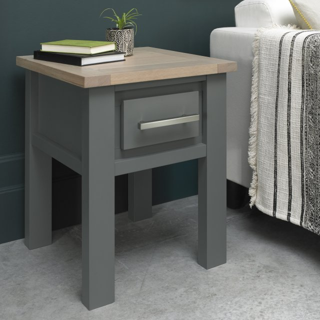Premier Collection Oakham Dark Grey & Scandi Oak Lamp Table With Drawer