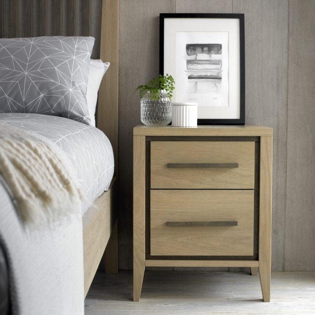 Premier Collection Rimini Aged Oak & Weathered Oak 2 Drawer Nightstand