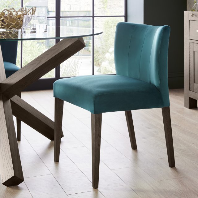 Premier Collection Turin Dark Oak Low Back Uph Chair - Sea Green Velvet Fabric (Pair)