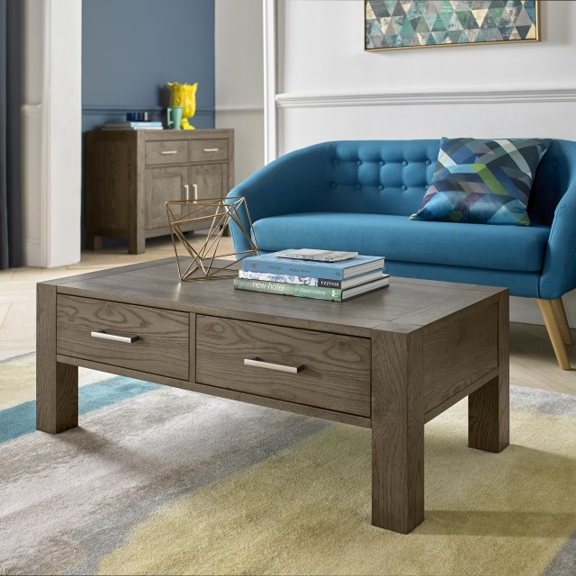 Premier Collection Turin Dark Oak Coffee Table With Drawers