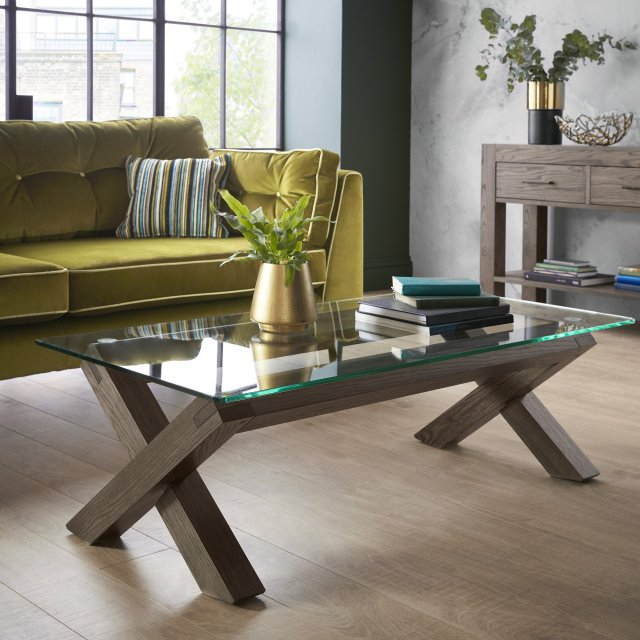 Premier Collection Turin Dark Oak Glass Coffee Table
