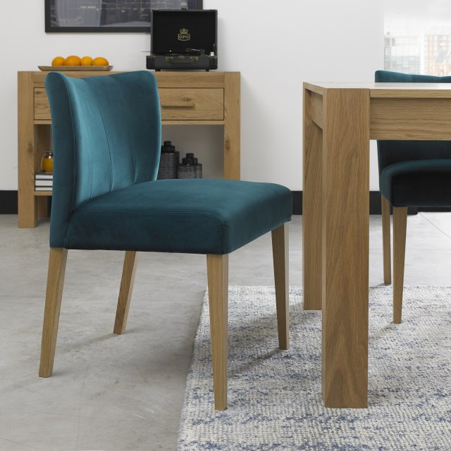Premier Collection Turin Light Oak Low Back Uph Chair - Sea Green Velvet Fabric (Pair)