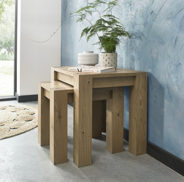 Premier Collection Turin Light Oak Nest Of Lamp Tables