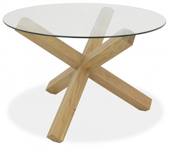 Premier Collection Turin Light Oak Circular Glass Table