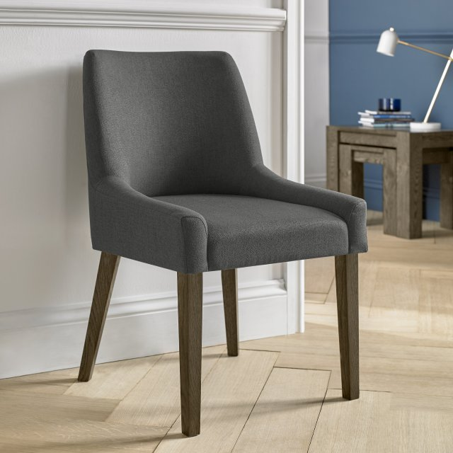 Premier Collection Ella Dark Oak Scoop Back Chair - Cold Steel Fabric  (Pair)