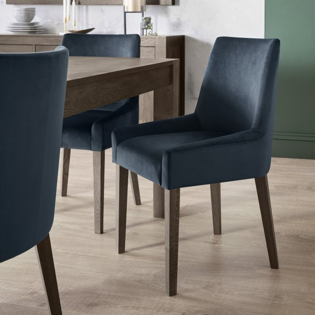 Premier Collection Ella Dark Oak Scoop Back Chair - Dark Blue Velvet Fabric  (Pair)