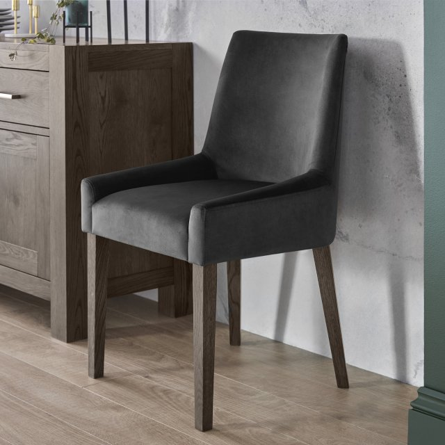 Premier Collection Ella Dark Oak Scoop Back Chair - Gun Metal Velvet Fabric  (Pair)