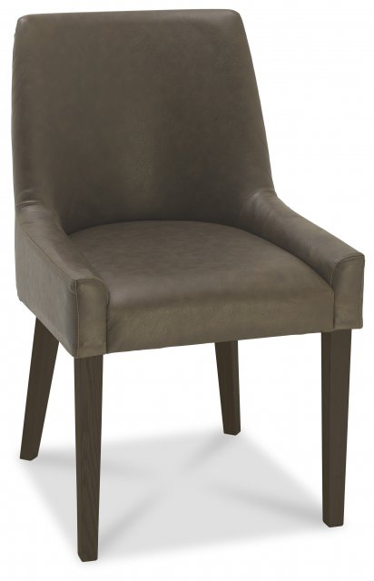 Premier Collection Ella Walnut Scoop Back Chair -  Distressed Bonded Leather  (Pair)