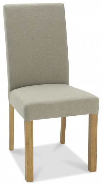 Premier Collection Parker Light Oak Square Back Chair - Silver Grey Fabric   (Pair)